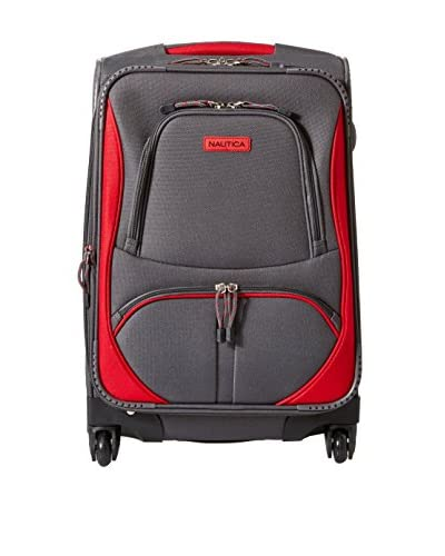 """Nautica Luggage Downhaul 20"""" Expandable Spinner Suitcase, Gray/Red"""