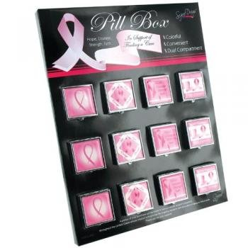 Pink Ribbon Pill Box Party Accessory - 1