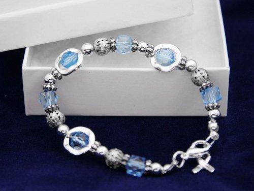 Light Blue Ribbon Bracelet-Silver Circles w/ Light Blue Beads (18 Bracelets)