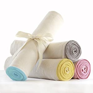 Organic Swaddle Blanket - Large Baby Muslin Wrap & Receiving Blanket - USA Made (YELLOW)