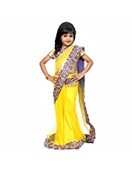 Samarth Fashion Ready To Wear Yellow And Golden Net Saree For Kids