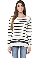 Annabelle by Pantaloons Women's Round Neck Sweater (205000005619486, White, Small)
