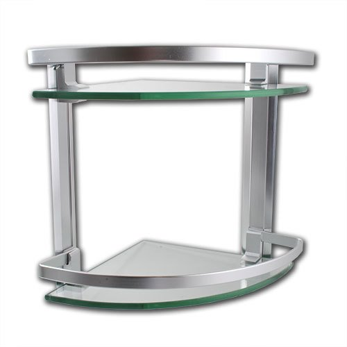 2 Tier Chrome Corner Bathroom Glass Storage Shelves Accessories