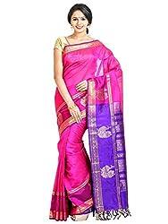 Anagha Handloom Jacquard Kanjivaram Silk-Cotton Saree - Pink/Peacock Butta
