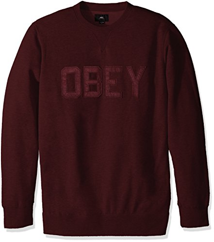 Obey, Uomo, North Point Crew Fleece Black Ox Blood, Cotone, Felpe, Rosso, M EU