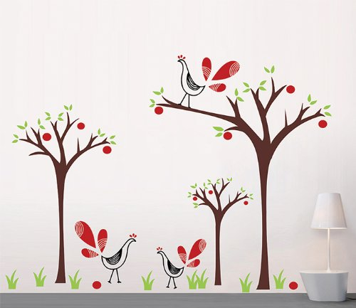 Pop Decors Removable Vinyl Art Wall Decals Mural for Nursery Room, Peacock and Apple Trees