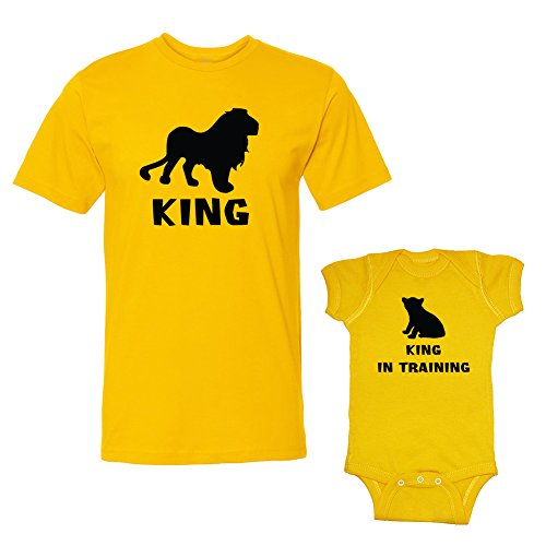 We Match! King & King In Training Adult T-Shirt & Baby Bodysuit Set (12 Months Bodysuit, Adult T-Shirt Large, Gold) front-310090