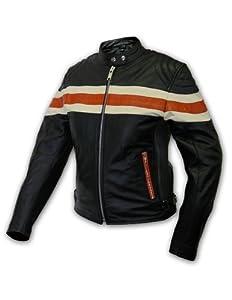 Interstate Leather Ladies Stripe Jacket (Black/Orange, Medium)