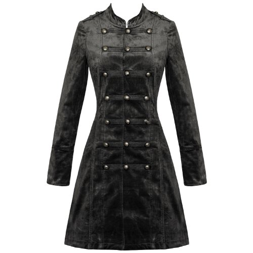 LADIES NEW LONG BLACK VELOUR INDIE WINTER MILITARY JACKET COAT