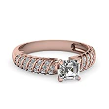 buy 0.70 Ct Asscher Cut Natural Diamond Pave Engagement Ring 14K Gold Gia Certified (G Color, Vvs1 Clarity)