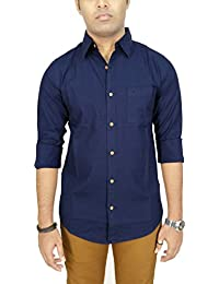 AA' Southbay Men's Indigo Premium Linen Cotton Long Sleeve Solid Casual Shirt