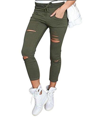 Yidarton Donna sportiva Stretch Slim Fit Strappato Skinny Denim Jeans Donna Pantaloni (M, Army green)