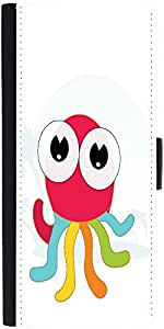 Snoogg cute little octopus Graphic Snap On Hard Back Leather + PC Flip Cover One Plus One