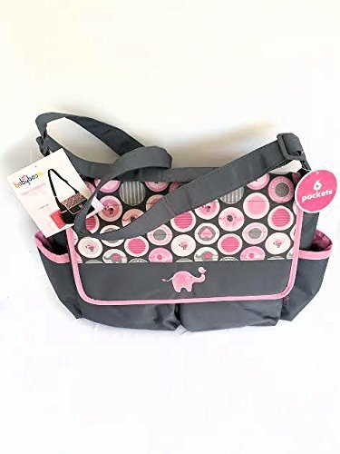 Diaper Tote Bag with Changing Pad, Babyboom 6 pocket with Elephant - 1