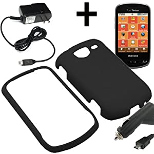 BW Hard Shield Shell Cover Snap On Case for Verizon Samsung Brightside U380 + Car + Home Charger-Black