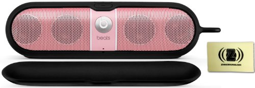 Beats By Dr. Dre Pill Limited Edition Portable Speaker (Pink) Bundle With Beats Pill Silicone Sleeve (Black) And Custom Designed Zorro Sounds Cleaning Cloth