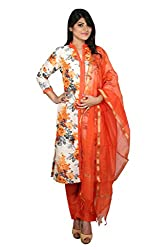 White and Orange Cotton Silk Unstitched Dress Material