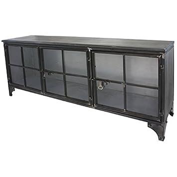 Mueble aparador para TV, diseño industrial de hierro, metal y cristal