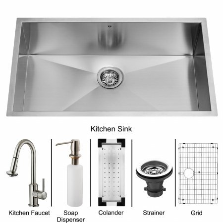 Vigo VG15070 Undermount Stainless Steel Kitchen Sink, Faucet, Colander, Grid, Strainer and Dispenser