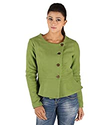 Owncraft Women's Woolen Jacket (Own_546_Green_X-Small)