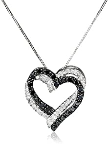 10k White Gold Double Heart Black and White Diamond Pendant Necklace (1/5 cttw, I-J Color, I2-I3 Clarity), 18