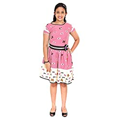 Saarah Light Coral & White Cotton Frocks For Girls (EMP3033)