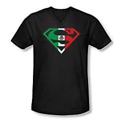 Superman Mexican Flag Shield Slim Fit V-Neck T-Shirt