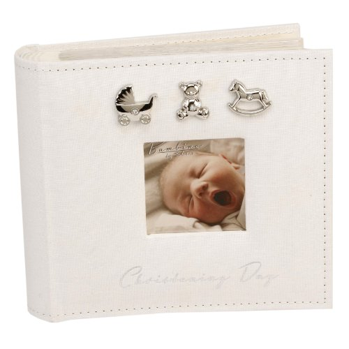 Bambino CG921 Baby Christening Guest Book, Silver Charms - 1