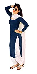 Mastani Kreation Women's Georgette Patiala Suit Dress MAterial (Goggles02-Nevy Blue_Nevy Blue_Free Size)