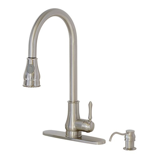 FREUER Bella Classico Collection: Pull Out Spray Kitchen Sink Faucet, Brushed Nickel