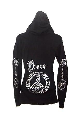 Gothic Zebra Peace Logo Rhinestones Hoodie