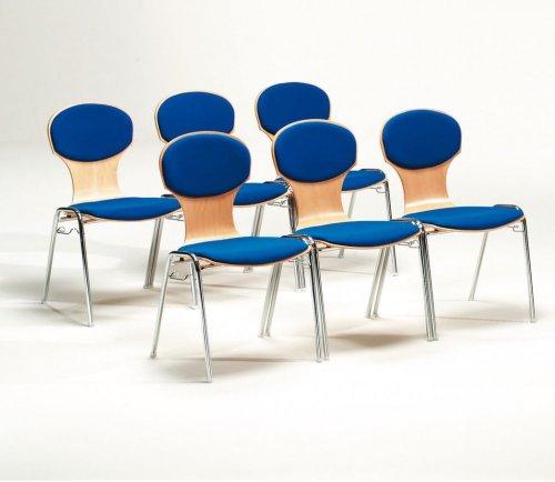 Mayer-Sitzmbel-Stuhl-Objektstuhl-Stapelstuhl-HOLZSCHALENSTUHL-Gestell-verchromt-Formholzschale-gepolstert-Bezug-26264