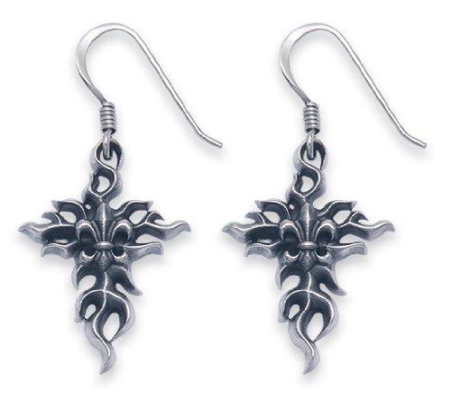 Sterling Silver Flaming Cross with Fleur De Lis Wire Earrings