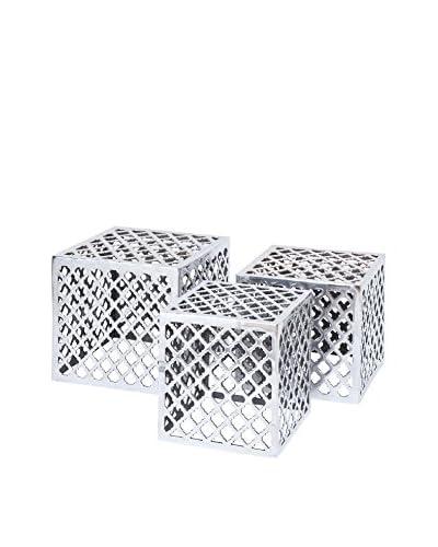 3-Piece Aluminum Fretwork Cube Accent Table Set