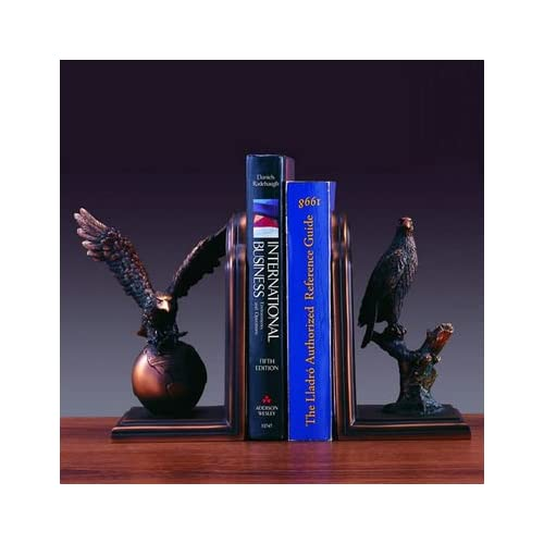 Bookends Set Eagle Bronze Plated Statue Sculpture NIB