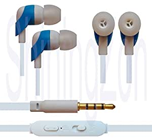 3.5mm In Ear Earbud Stereo Sound Noise Free Earphones Headphone Mini Size HandsFree Headset with Mic For INFOCUS M260 - Blue&White