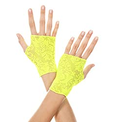 Music Legs Women's Lace Gloves, Neon Green, One Size