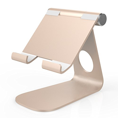 MoKo Supporto da tavolo Universal girevole a 210 gradi solida della lega di alluminio del metallo per ipad mini 4, iPhone 7, iPhone 6s, 6s Plus, Samsung S7 ed altri, Oro Rosato
