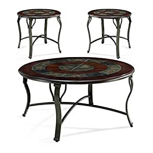 Margarita Round Coffee Table Set Wood Slate Metal By Steve Silver Company
