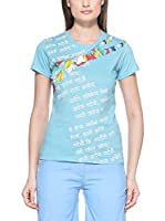 Salewa Camiseta Manga Corta Sherpa P. Co W (Azul Celeste)