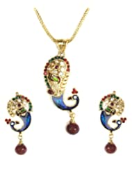 Shining Diva Enamelled Pendant Necklace Set For Women