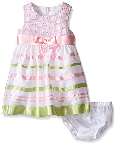Bonnie Baby Baby Sleeveless Circle Embroidered To Ribbon Organza Dress, Pink, 3-6 Months