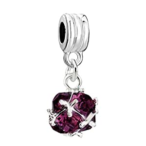 Pugster Classic February Purple Art Ball Dangle Spacer Bead Fit Pandora Charm & Bracelet