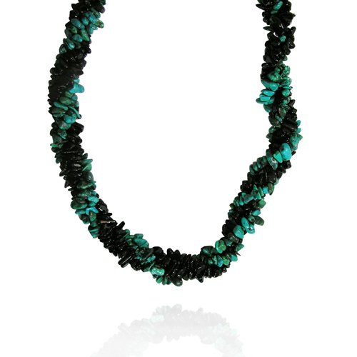 Turquoise with Black Onyx Fancy-Shaped Chips Necklace, 18+2