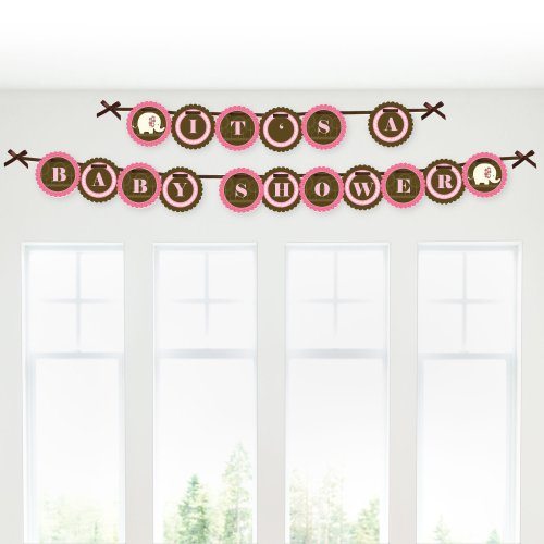 Pink Elephant - Baby Shower Garland Banners front-144123