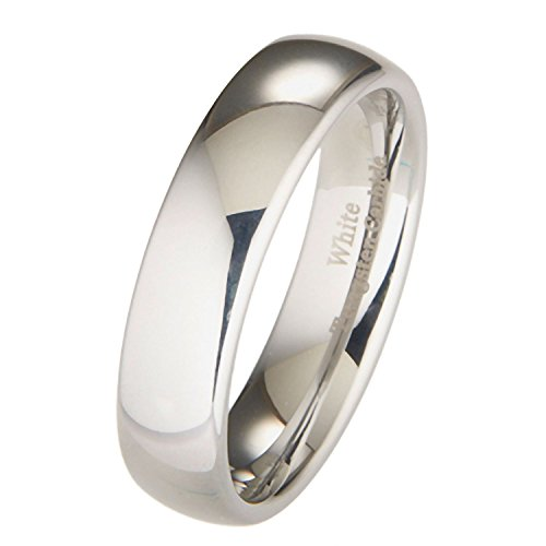 White Tungsten Carbide 6mm Polished Classic Wedding Ring Size 7.5