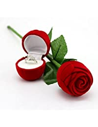 Zacharias Valentine's Gift Velvet Red Rose Ring Box WITH RING Inside For Women, Girls (Gift, Engagement Proposal)