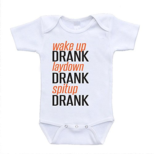 Wake up Drank laydown Drank spitup Drank funny quote on baby onesies sayings infant toddler bodysuits one piece (6-9 Months)
