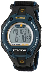 Timex Men's T5K413 Ironman Traditional 30-Lap Oversize Black/Blue Fast Wrap Velcro Strap Watch