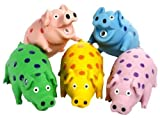 Multipet's 9-Inch Latex Polka Dot Globlet Pig Dog Toy, Assorted Colors
